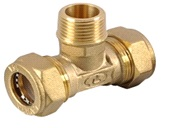тройник труба-наружная резьба-труба латунный BT20*3/4″(M)